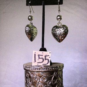 Vintage Silver Heart Dangle Earrings - French Hook